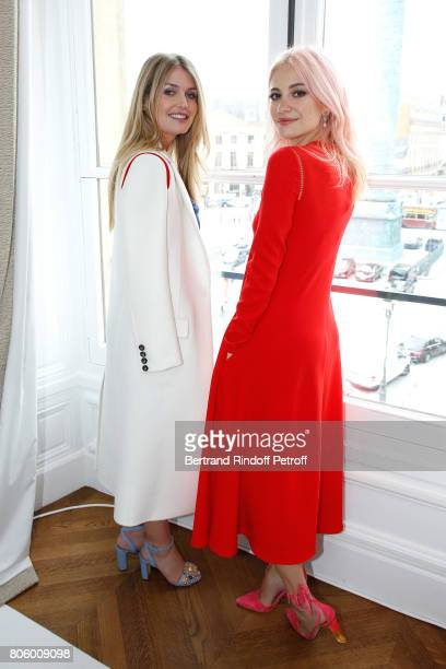 Lady Kitty Spencer and Pixie Lott attend the Schiaparelli Haute Couture Fall/Winter 20172018 show as part of Haute Couture Paris Fashion Week on July...