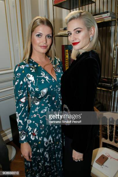 Lady Kitty Spencer and Pixie Lott attend the Schiaparelli Haute Couture Spring Summer 2018 show as part of Paris Fashion Week on January 22 2018 in...