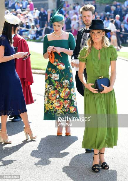 Lady Kitty Spencer and Victoria Aitken arrive at St George's Chapel at Windsor Castle before the wedding of Prince Harry to Meghan Markle on May 19...