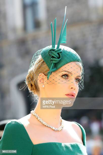 Lady Kitty Spencer arrives at St George's Chapel at Windsor Castle before the wedding of Prince Harry to Meghan Markle on May 19, 2018 in Windsor,...