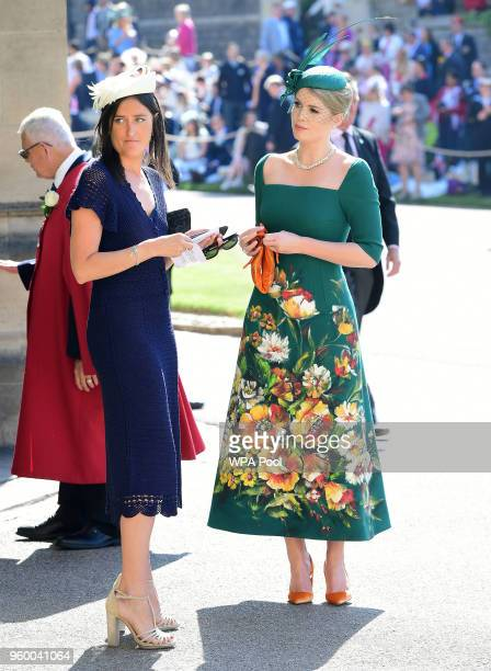Lady Kitty Spencer arrives at St George's Chapel at Windsor Castle before the wedding of Prince Harry to Meghan Markle on May 19 2018 in Windsor...