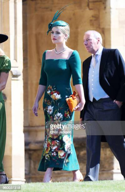 Lady Kitty Spencer arrives at the wedding of Prince Harry to Ms Meghan Markle at St George's Chapel Windsor Castle on May 19 2018 in Windsor England