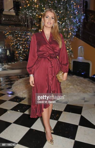 Lady Kitty Spencer attends Claridge's Christmas Tree Party 2017 designed by Karl Lagerfeld on November 28 2017 in London United Kingdom