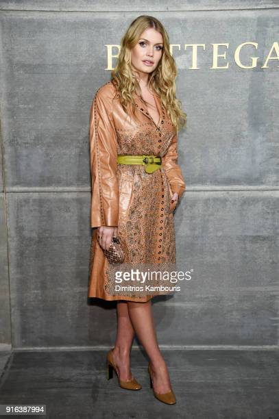 Lady Kitty Spencer attends the Bottega Veneta Fall/Winter 2018 fashion show at New York Stock Exchange on February 9 2018 in New York City