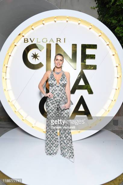 Lady Kitty Spencer attends the Bvlgari Hight Jewelry Exhibition on June 13 2019 in Capri Italy