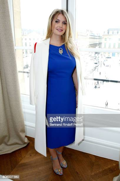 Lady Kitty Spencer attends the Schiaparelli Haute Couture Fall/Winter 20172018 show as part of Haute Couture Paris Fashion Week on July 3 2017 in...
