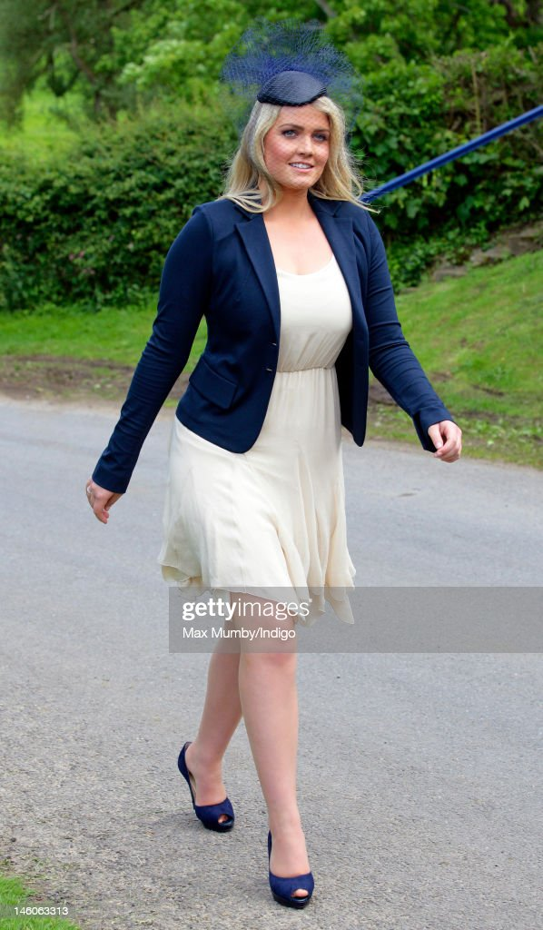 Lady Kitty Spencer attends the wedding of Emily McCorquodale and James Hutt at The Church of St Andrew and St Mary, Stoke Rochford on June 9, 2012 in Grantham, England.
