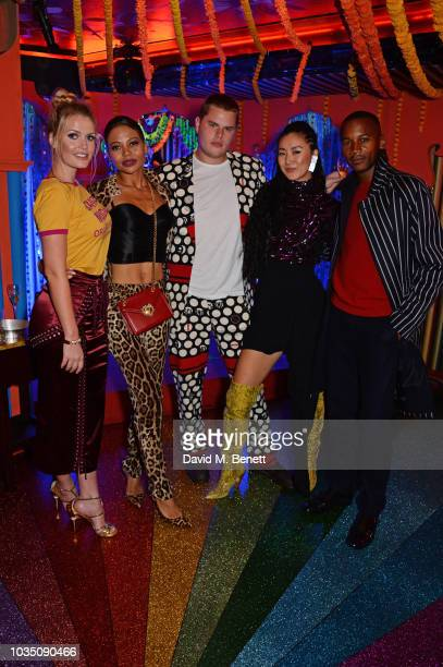 Lady Kitty Spencer Emma Weymouth Guest Betty Bachz and Eric Underwood attend the LOVE Magazine 10th birthday party with PerrierJouet at Loulou's on...