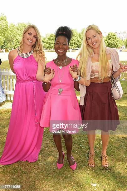 Lady Kitty Spencer Floella Benjamin and Belinda deLucy McKeeve attend the Flannels for Heroes charity cricket match and garden party hosted by...