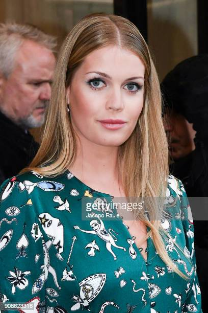 Lady Kitty Spencer is seen arriving at Schiaparelli Fashion show during Paris Fashion Week Haute Couture Spring/Summer 2018 on January 22 2018 in...