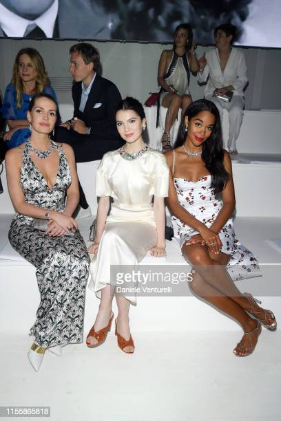 Lady Kitty Spencer Maya Henry and Laura Harrier attends the Bvlgari Hight Jewelry Exhibition on June 13 2019 in Capri Italy