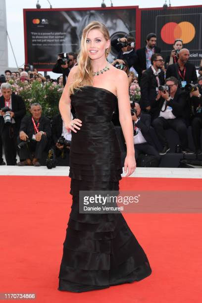 Lady Kitty Spencer walks the red carpet ahead of the Opening Ceremony and the La Vérité screening during the 76th Venice Film Festival at Sala Grande...