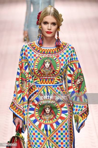 Lady Kitty Spencer walks the runway at the Dolce Gabbana show during Milan Fashion Week Spring/Summer 2019 on September 23 2018 in Milan Italy