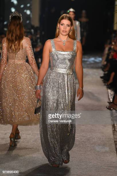 Lady Kitty Spencer walks the runway at the Dolce Gabbana show during Milan Fashion Week Fall/Winter 2018/19 on February 24 2018 in Milan Italy