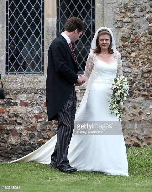 Lady Laura Marsham and James Meade after their wedding at the parish church of St Nicholas at Gayton on September 14 2013 in King's Lynn England