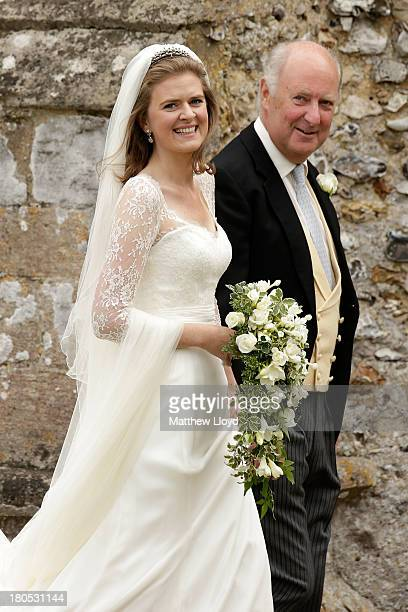 Lady Laura Marsham arrives for her wedding to James Meade at St Nicholas church in Gayton on September 14 2013 in King's Lynn England