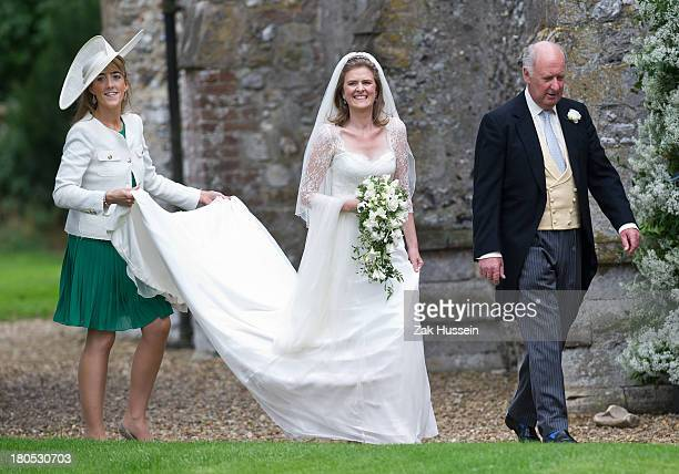 Lady Laura Marsham arrives for her wedding to James Meade at The Parish Church of St Nicholas in Gaytonon September 14 2013 in King's Lynn England