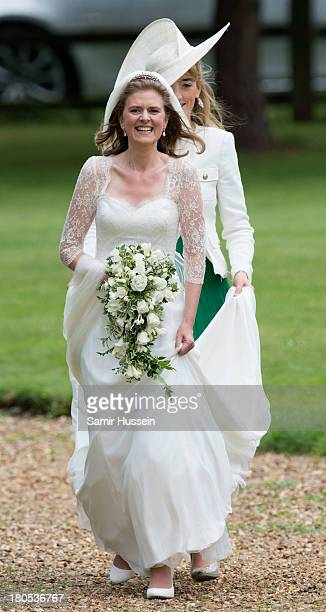 Lady Laura Marsham arrives for her wedding to James Meade at the parish church of St Nicholas in Gayton on September 14 2013 in King's Lynn England
