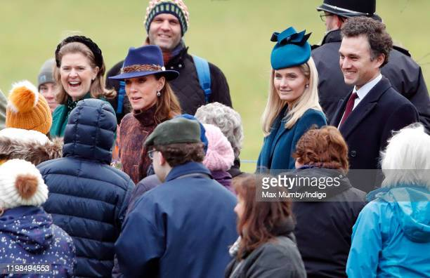 Lady Laura Meade, Catherine, Duchess of Cambridge, Lucy Lanigan-O'Keeffe and Thomas van Straubenzee attend Sunday service at the Church of St Mary...