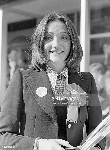 Lady Leonora Grosvenor campaigning in the General Election for the Marquess of Douro in Archway in Islington North London on 28th September 1974