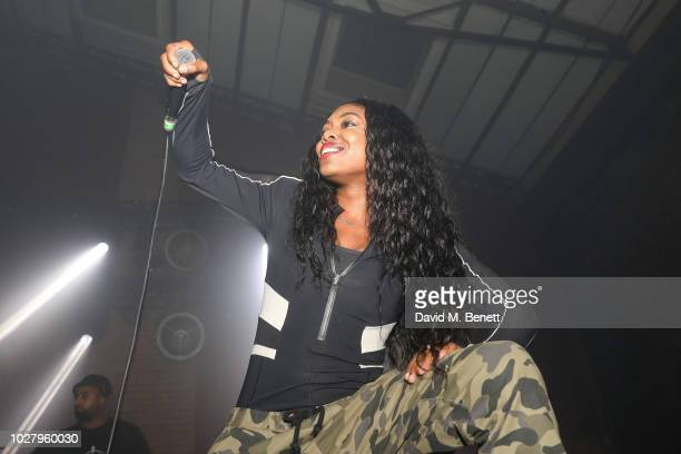 Lady Leshurr performing at the Axel Arigato launch at Village Underground on September 6 2018 in London England