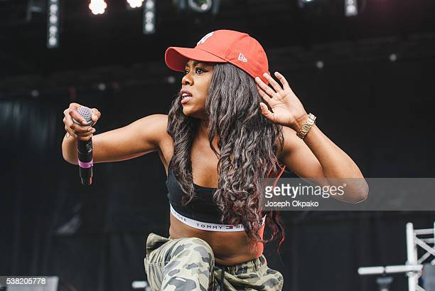 Lady Leshurr performs on stage on Day 1 of Born And Bred Festival at Haggerston Park on June 4 2016 in London England