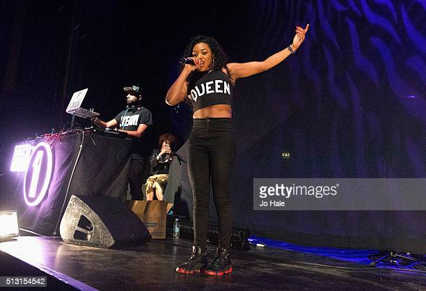 Lady Leshurr raps on stage at Radio 1 Presents at O2 Forum Kentish Town on February 29 2016 in London England