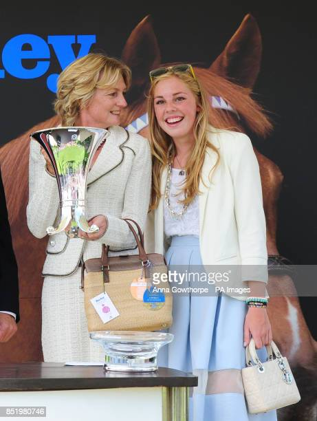 Lady Lloyd Webber and her daughter Isabella with the trophy after their victory in the Darley Yorkshire Oaks during day two of the 2013 Yorkshire...