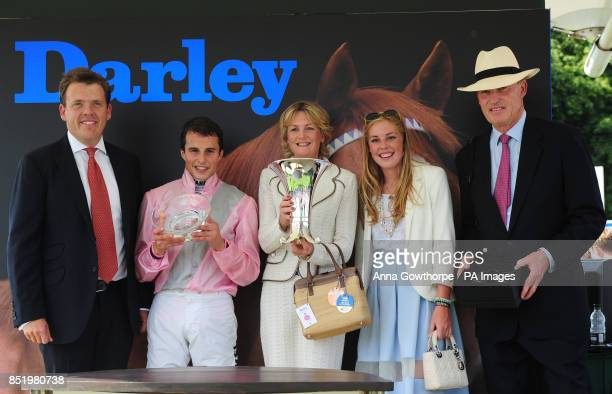 Lady Lloyd Webber and her daughter Isabella with winning jockey William Buick and trainer John Gosden after their victory in the Darley Yorkshire...