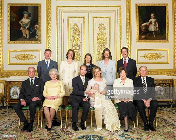 Lady Louise Mountbatten Windsor daughter of TRH The Earl and Countess of Wessex with her parents grandparents and godparents following her...