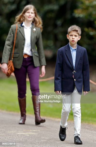 Lady Louise Windsor and James Viscount Severn attend day 4 of the Royal Windsor Horse Show in Home Park on May 12 2018 in Windsor England This year...