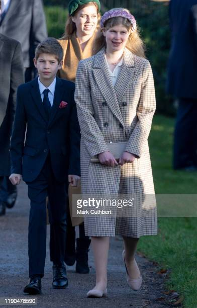 Lady Louise Windsor and James Viscount Severn followed by Princess Beatrice of York attend the Christmas Day Church service at Church of St Mary...