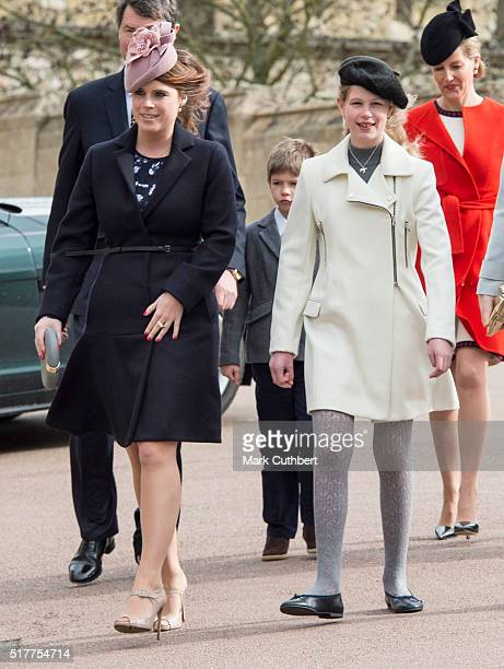 Lady Louise Windsor and Princess Eugenie attend the Easter Sunday Service at St George's Chapel on March 27 2016 in Windsor England