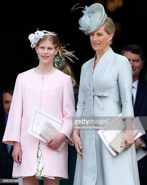 Lady Louise Windsor and Sophie Countess of Wessex attend a national service of thanksgiving to mark Queen Elizabeth II's 90th birthday at St Paul's...