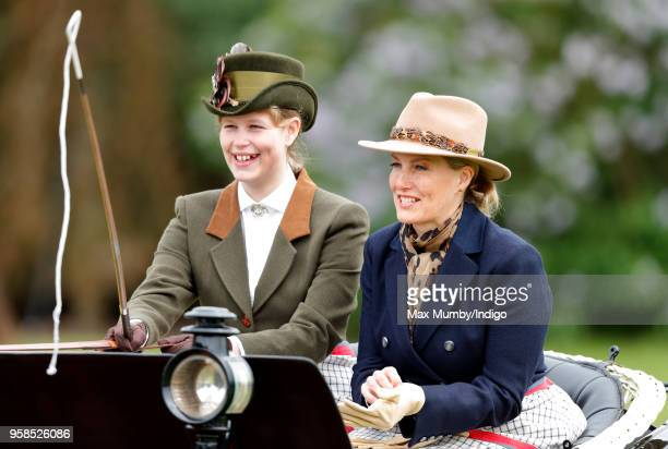 Lady Louise Windsor and Sophie, Countess of Wessex seen carriage driving as they take part in The Champagne Laurent-Perrier Meet of the British...