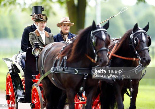 Lady Louise Windsor and Sophie Countess of Wessex seen carriage driving as they take part in The Champagne LaurentPerrier Meet of the British Driving...