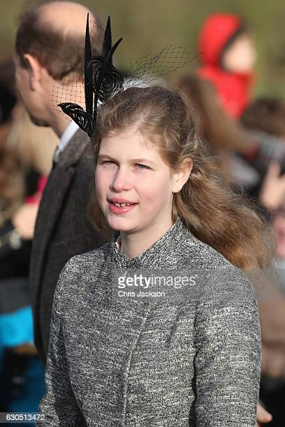 Lady Louise Windsor attends a Christmas Day church service at Sandringham on December 25 2016 in King's Lynn England