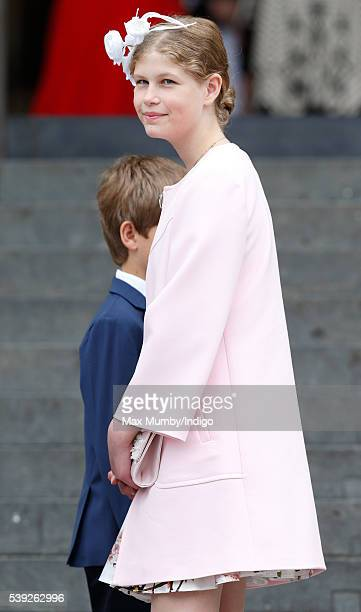 Lady Louise Windsor attends a national service of thanksgiving to mark Queen Elizabeth II's 90th birthday at St Paul's Cathedral on June 10 2016 in...