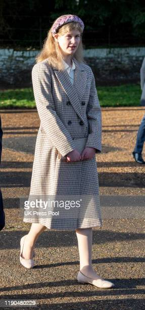 Lady Louise Windsor attends the Christmas Day Church service at Church of St Mary Magdalene on the Sandringham estate on December 25 2019 in King's...
