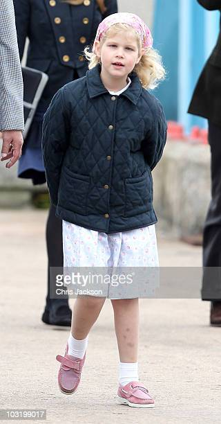 Lady Louise Windsor disembark the Hebridean Princess with other members of the Royal Family in Scrabster Harbour on August 2, 2010 in Scrabster,...