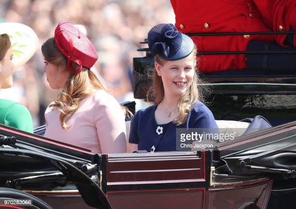 Lady Louise Windsor during Trooping The Colour on the Mall on June 9 2018 in London England The annual ceremony involving over 1400 guardsmen and...
