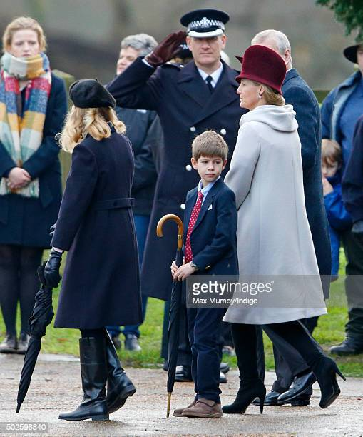 Lady Louise Windsor James Viscount Severn and Sophie Countess of Wessex depart after attending the Sunday service at St Mary Magdalene Church...