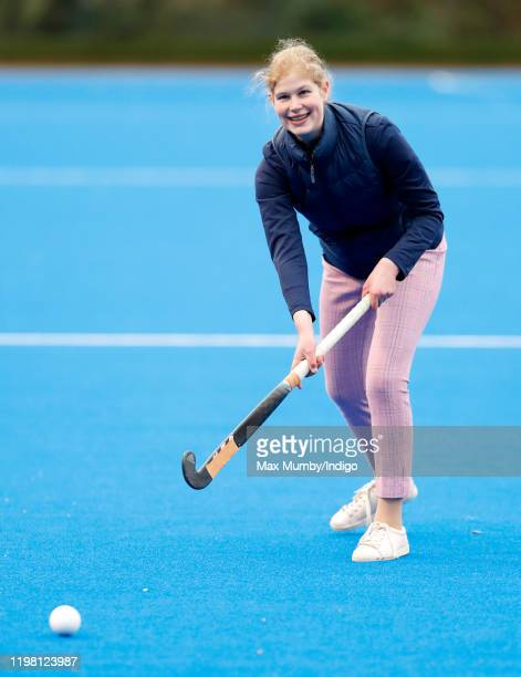 Lady Louise Windsor plays hockey as she attends an England Hockey team training session at Bisham Abbey National Sports Centre on January 7, 2020 in...