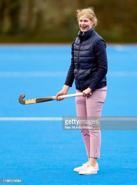 Lady Louise Windsor plays hockey as she attends an England Hockey team training session at Bisham Abbey National Sports Centre on January 7 2020 in...