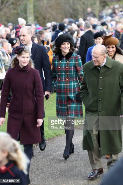 Lady Louise Windsor Prince William Duke of Cambridge Prince Philip Duke of Edinburgh Catherine Duchess of Cambridge and Meghan Markle attend...