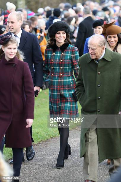 Lady Louise Windsor Prince William Duke of Cambridge Prince Philip Duke of Edinburgh Catherine Duchess of Cambridge and Meghan Markle attend...