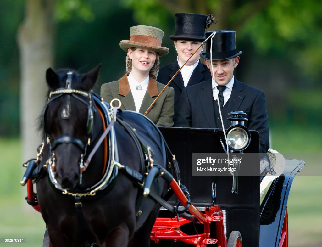 Lady Louise Windsor seen carriage driving as she takes part in The Champagne Laurent-Perrier Meet of the British Driving Society on day 5 of the Royal Windsor Horse Show in Home Park on May 14, 2017 in Windsor, England. Lady Louise has taken over from her Grandfather Prince Philip, Duke of Edinburgh to lead the procession, driving a recently restored carriage used by Queen Elizabeth II in 1943 and being drawn by one of The Queen's Fell Ponies.