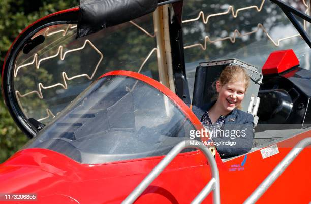 Lady Louise Windsor sits in the cockpit of a Red Arrows Hawk Jet as she attends The Land Rover Burghley Horse Trials at Burghley House on September...