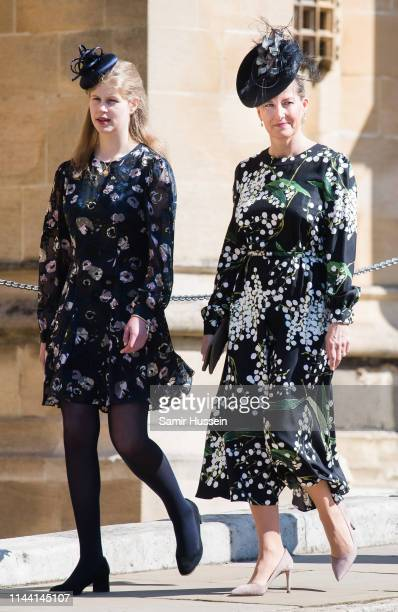 Lady Louise Windsor Sophie Countess of Wessex attend Easter Sunday service at St George's Chapel on April 21 2019 in Windsor England