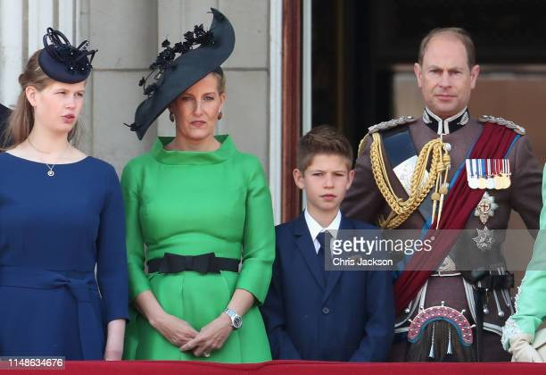 Lady Louise Windsor Sophie Countess of Wessex James Viscount Severn and Prince Edward Earl of Wessex during Trooping The Colour the Queen's annual...
